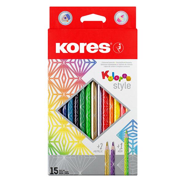 Trojhranné pastelky KOLORES STYLE 3 mm 15 barev