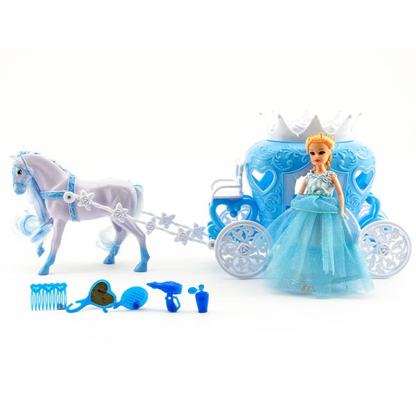 Panenka s kočárem a koněm